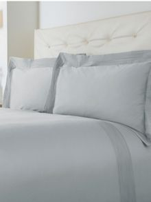Oxford pintuck double duvet cover set soft blue