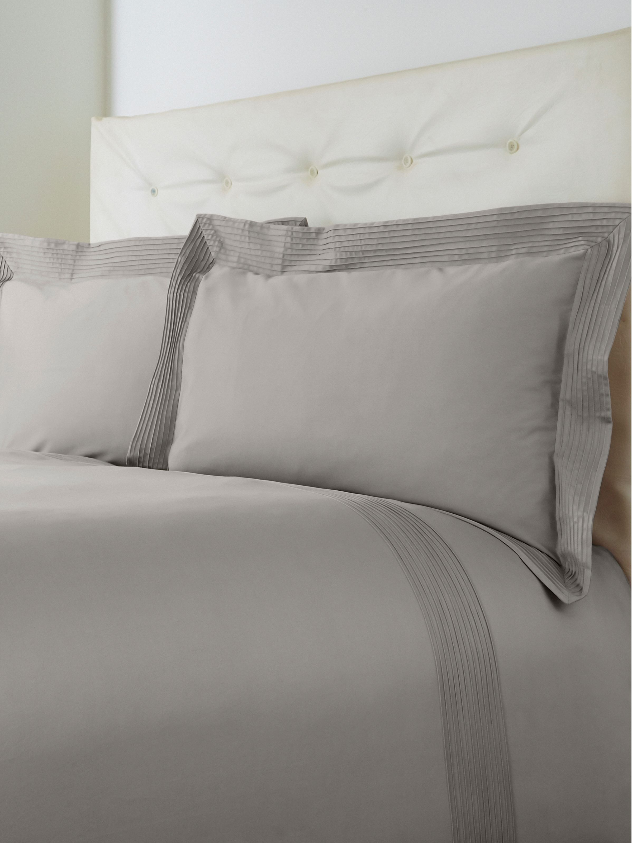 Oxford pintuck single duvet set grey