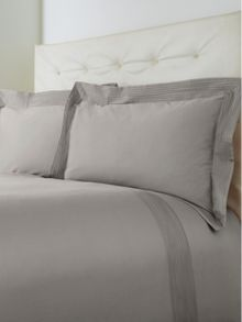 Oxford pintuck double duvet set grey