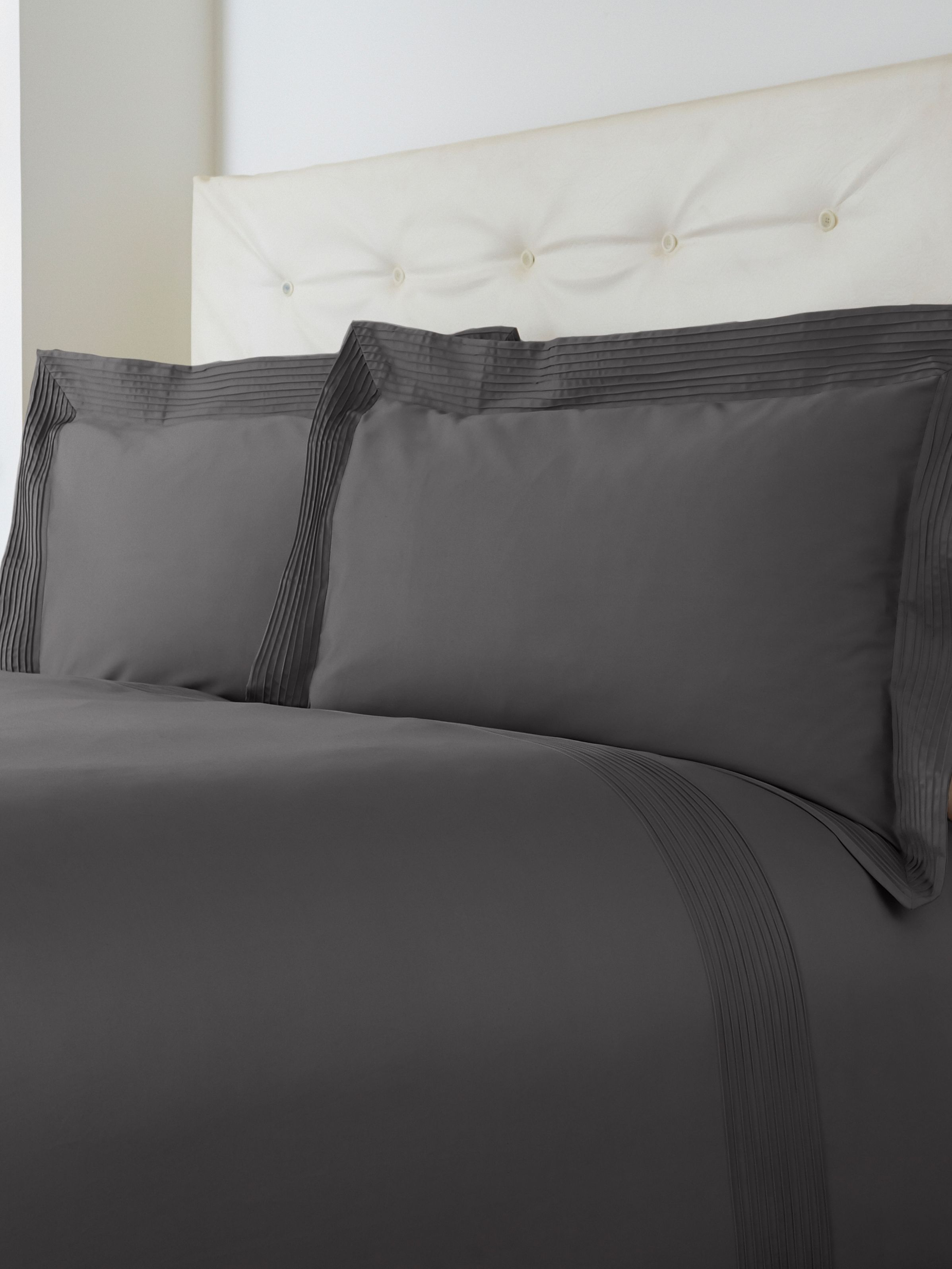 Oxford pintuck super king duvet set slate