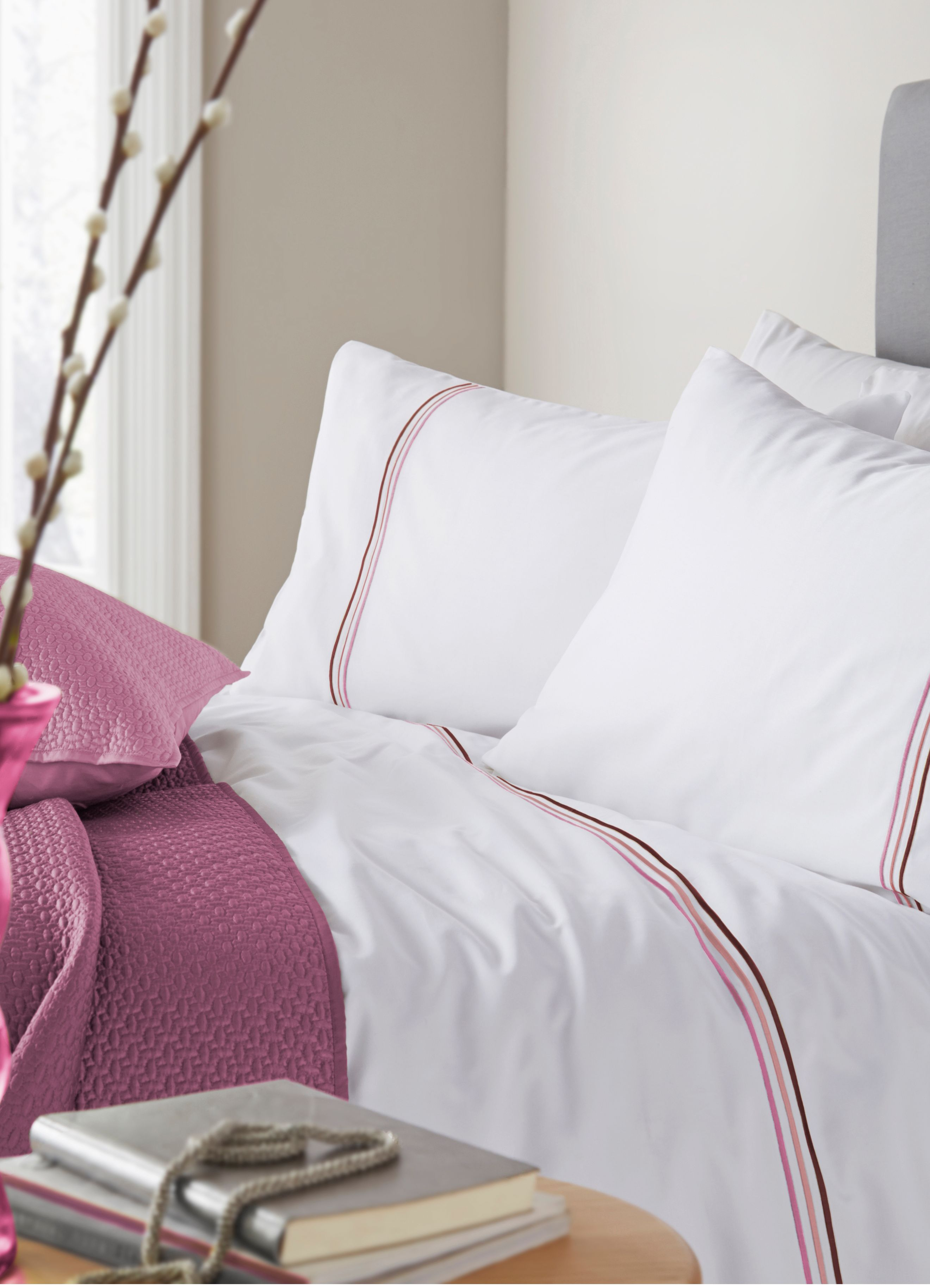 Louisa pink super king duvet cover set