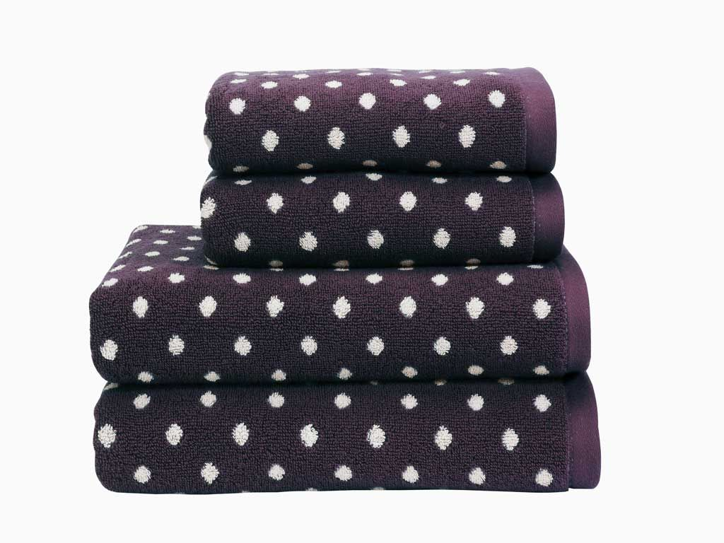 Georgia aubergine spot towels