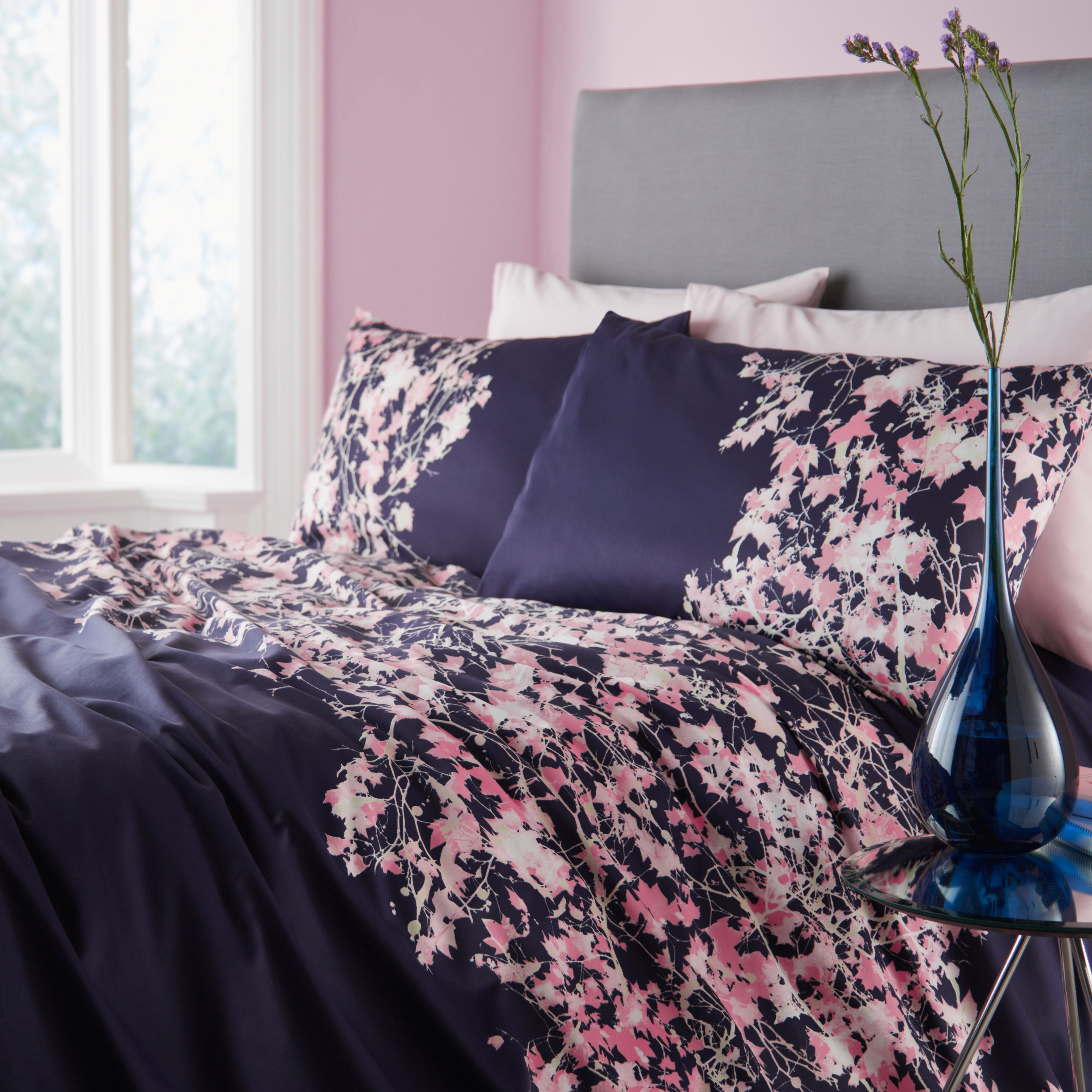 Elodie floral plum king duvet cover