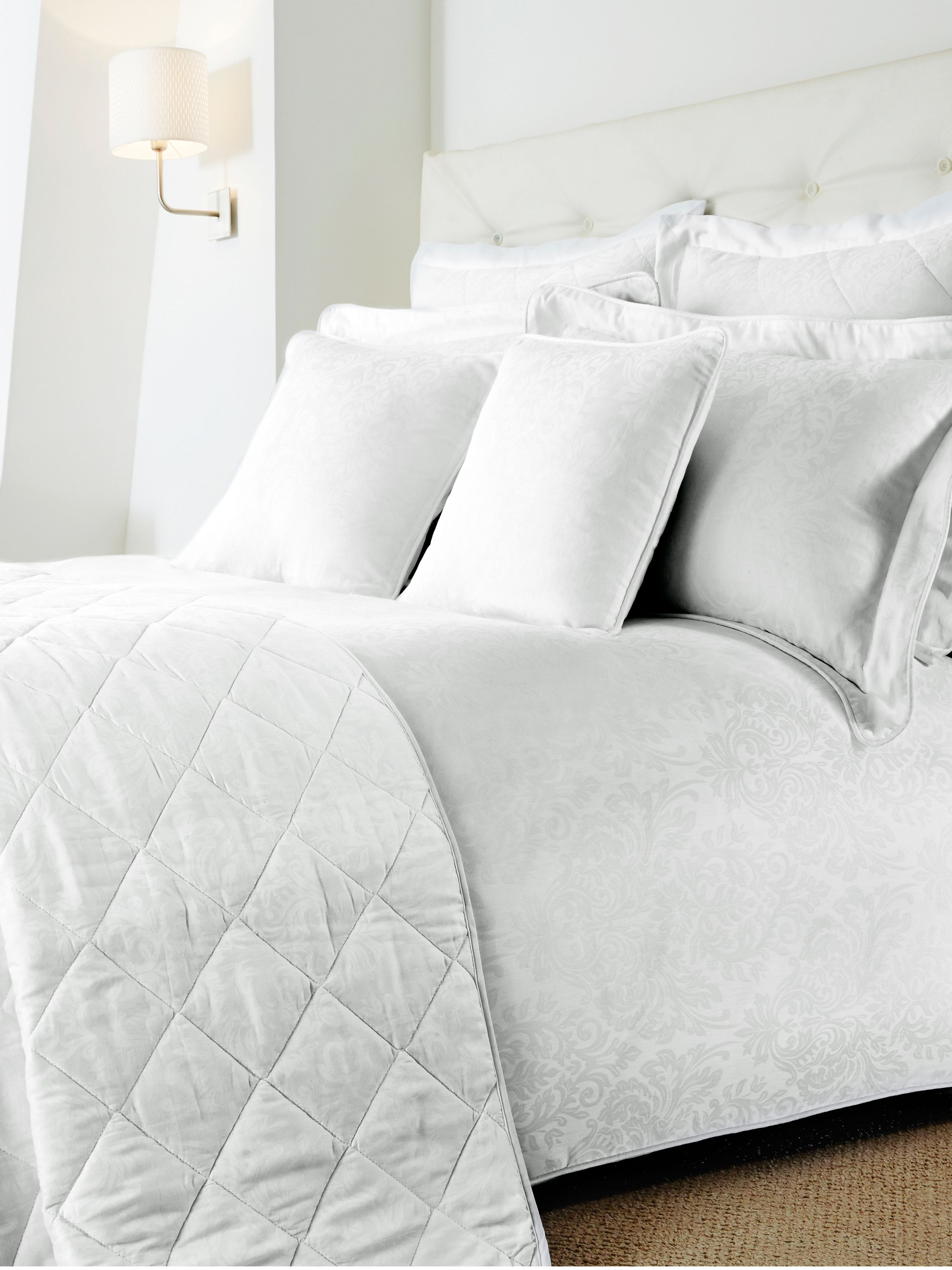 Damask white bed linen