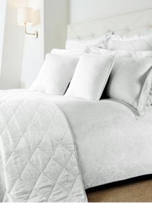 Damask single duvet cover set white