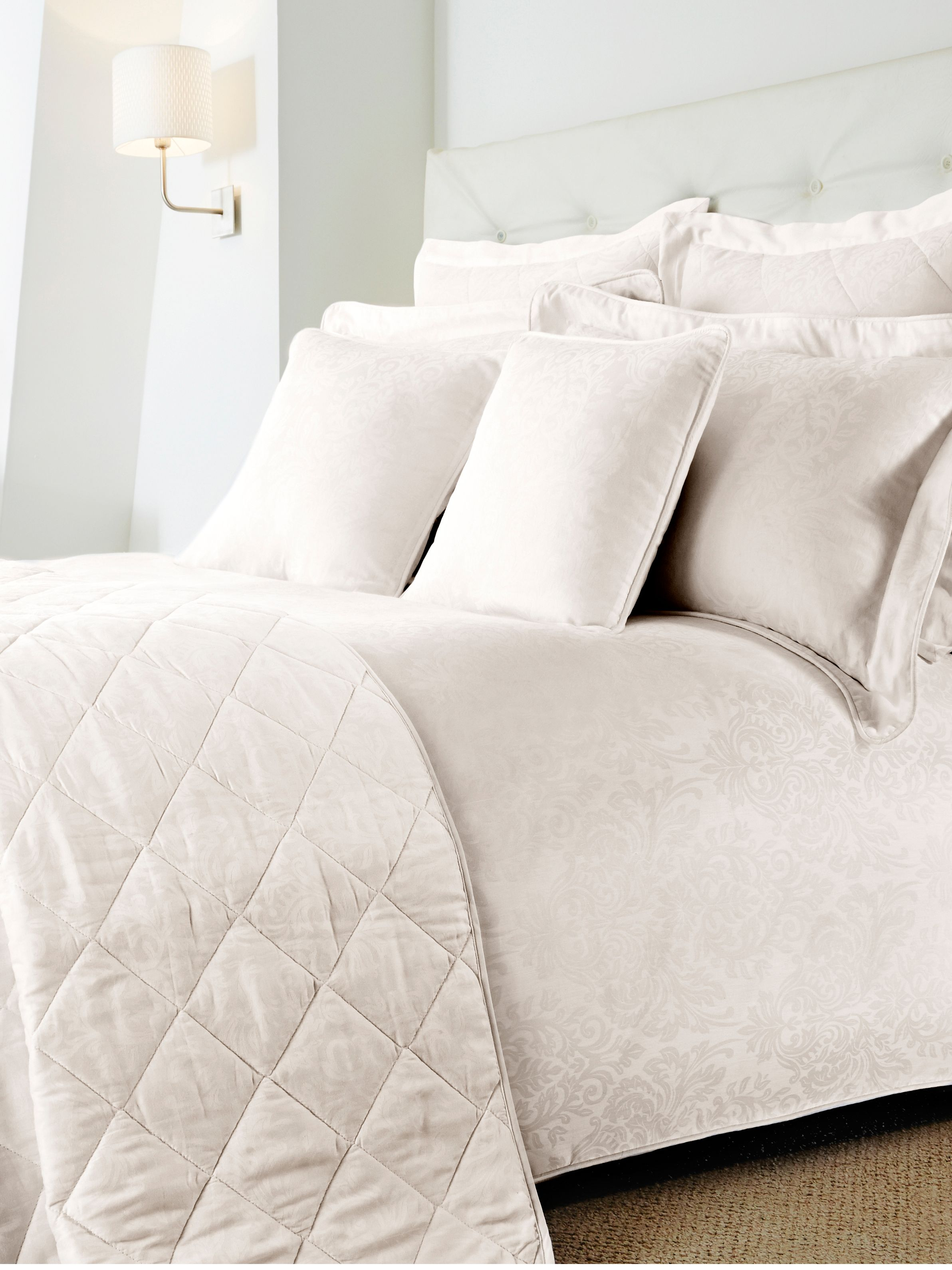Damask cream bed linen