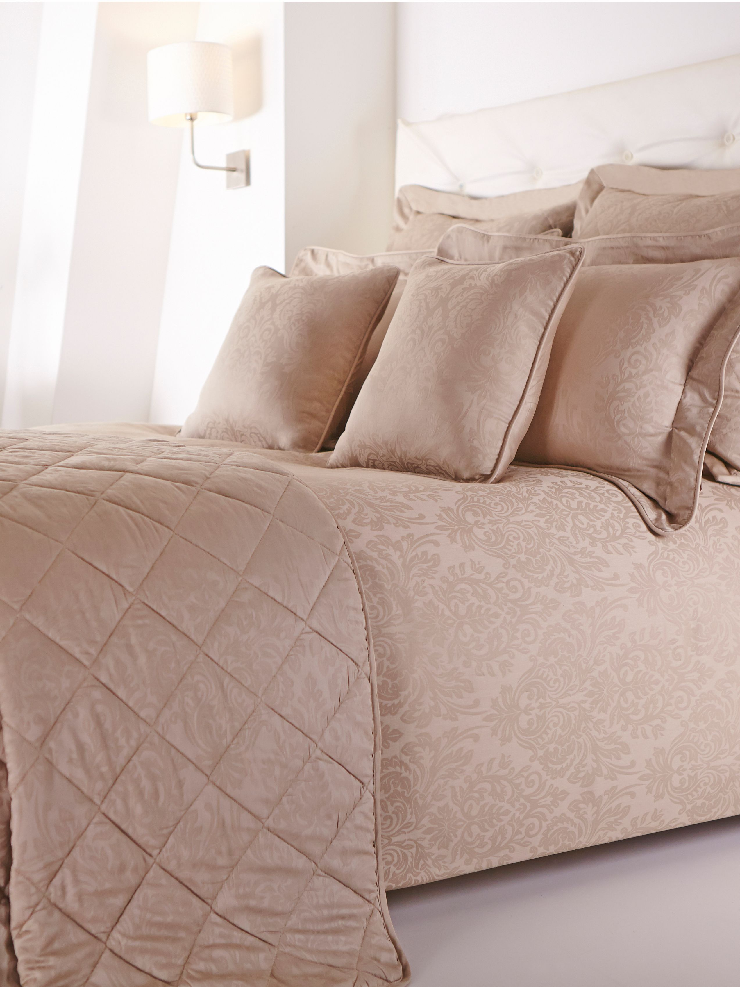 Damask taupe bed linen