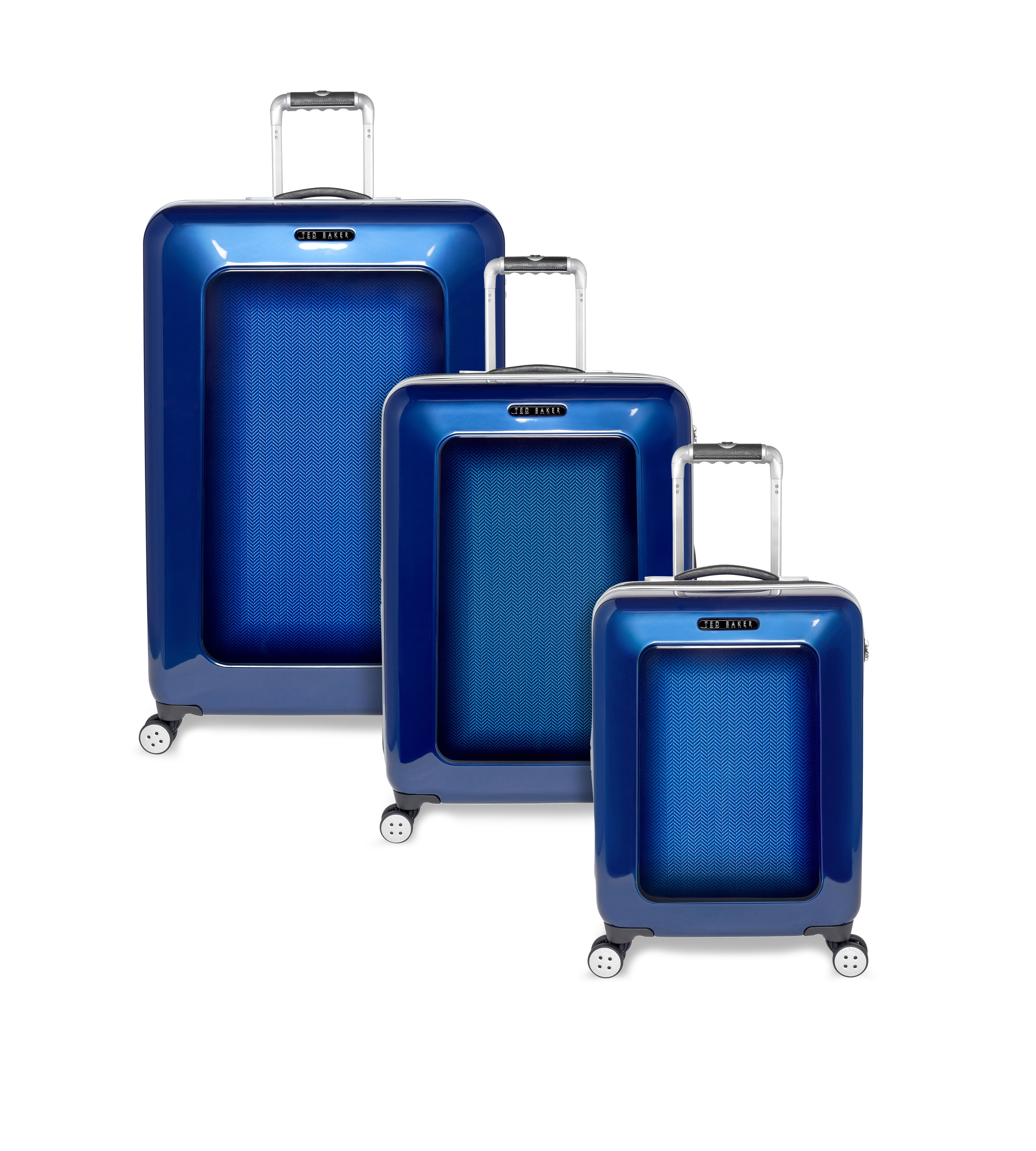 Herringbone blue luggage range