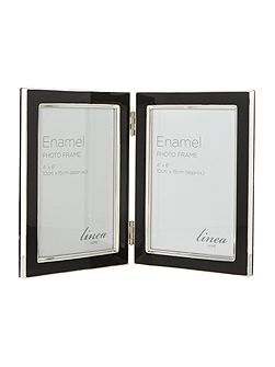 Black enamel photo frame, 5 x 7 hinged
