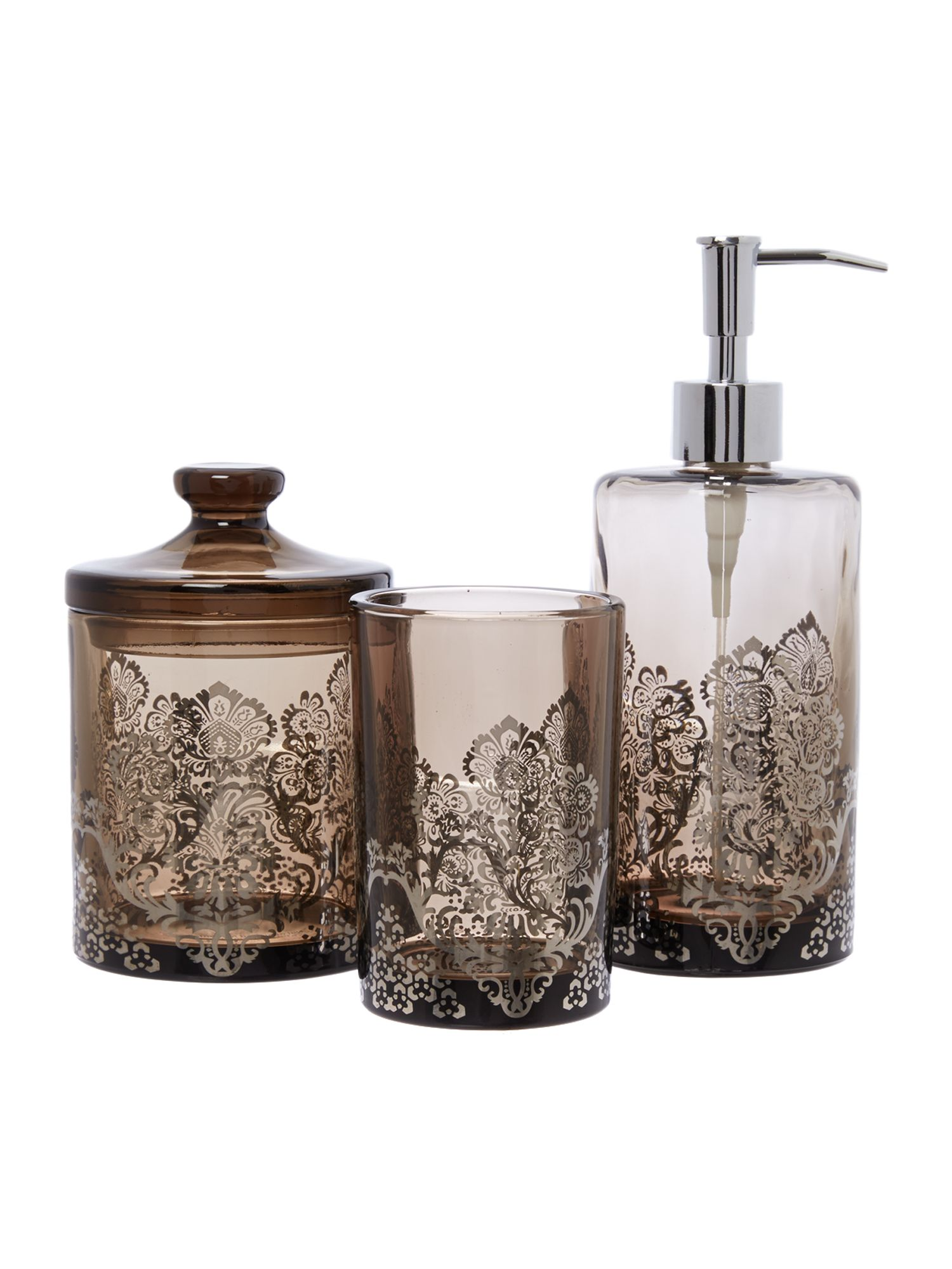 Damask glass basin accessories