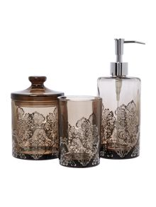 Linea Damask glass basin accessories