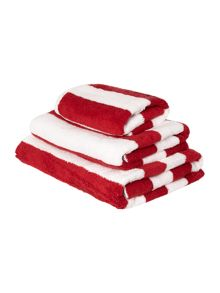 Linea Nautical red wine stripe towel range