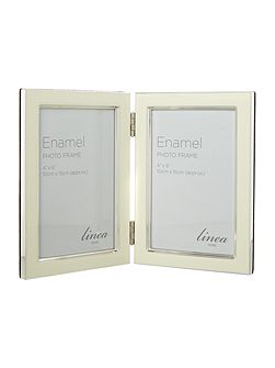 Cream enamel photo frame, 4 x 6 hinged