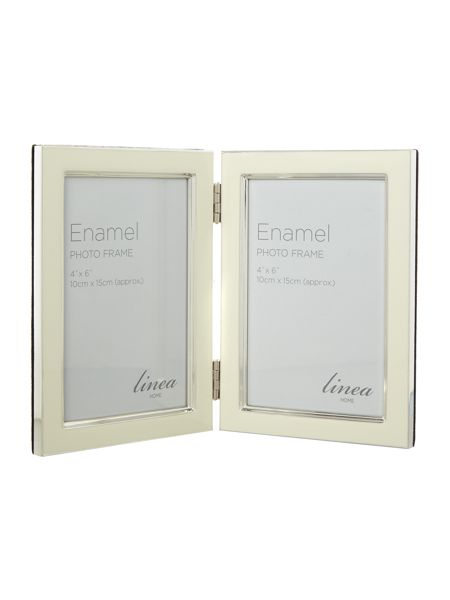 Linea Cream enamel photo frame, 5 x 7 hinged frame