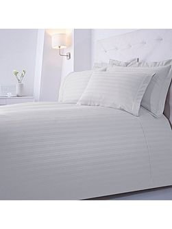 Dobby stripe deep fitted sheet pair double white