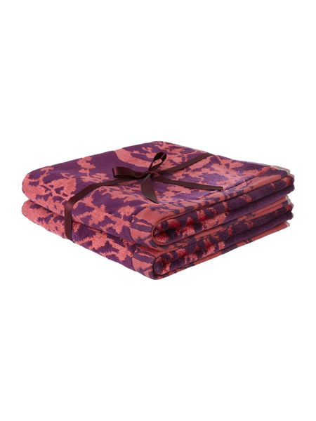 Pied a Terre Oriental blossom amethyst pack of 2 hand towels