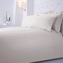 Luxury Hotel Collection Dobby stripe double duvet set cream