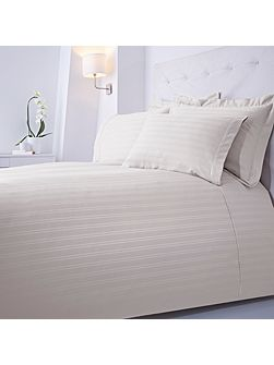 Dobby stripe single duvet set cream