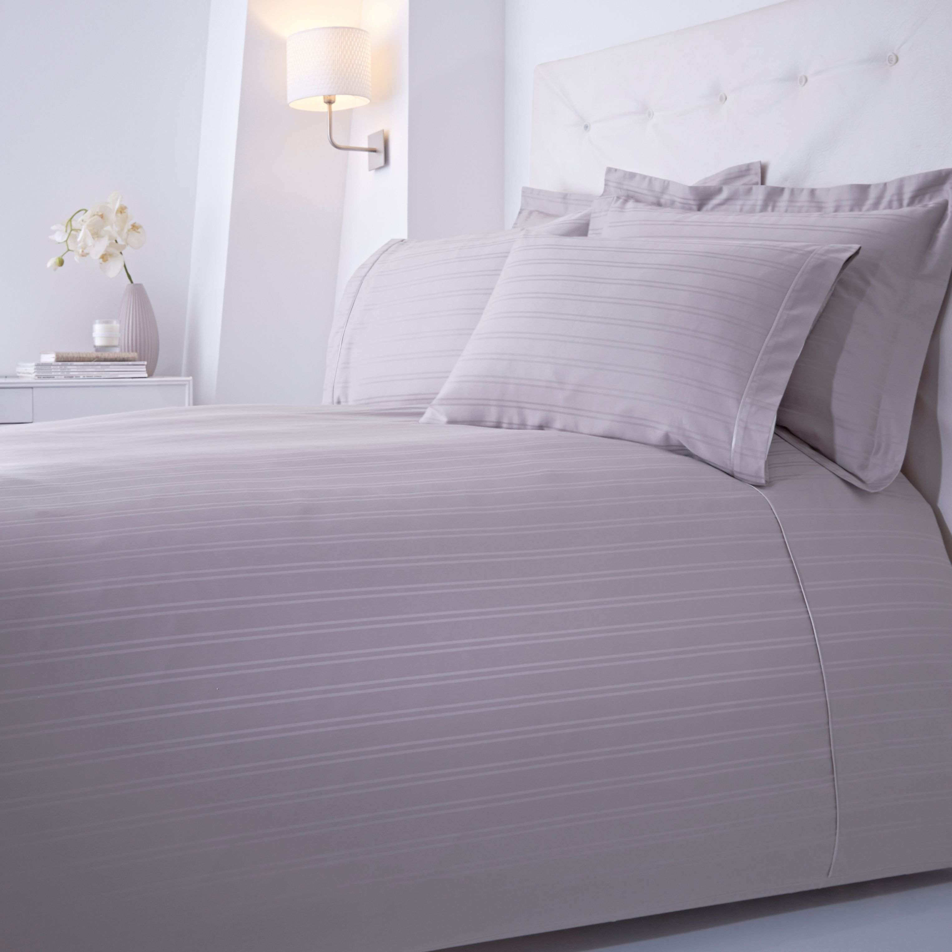 Luxury Hotel Collection Dobby stripe square pillowcase grey pair
