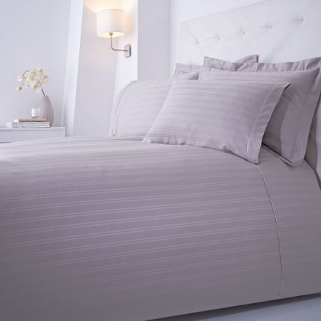 Luxury Hotel Collection Dobby stripe oxford pillowcase grey