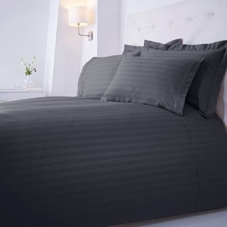 Luxury Hotel Collection Dobby stripe superking duvet set slate