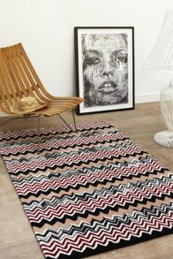 Plantation Rug Co. Aztec Rug Range - Black/Peach