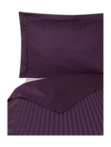 Satin stripe double duvet cover set blackberry