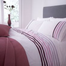 Lourdes stripe purple superking duvet set