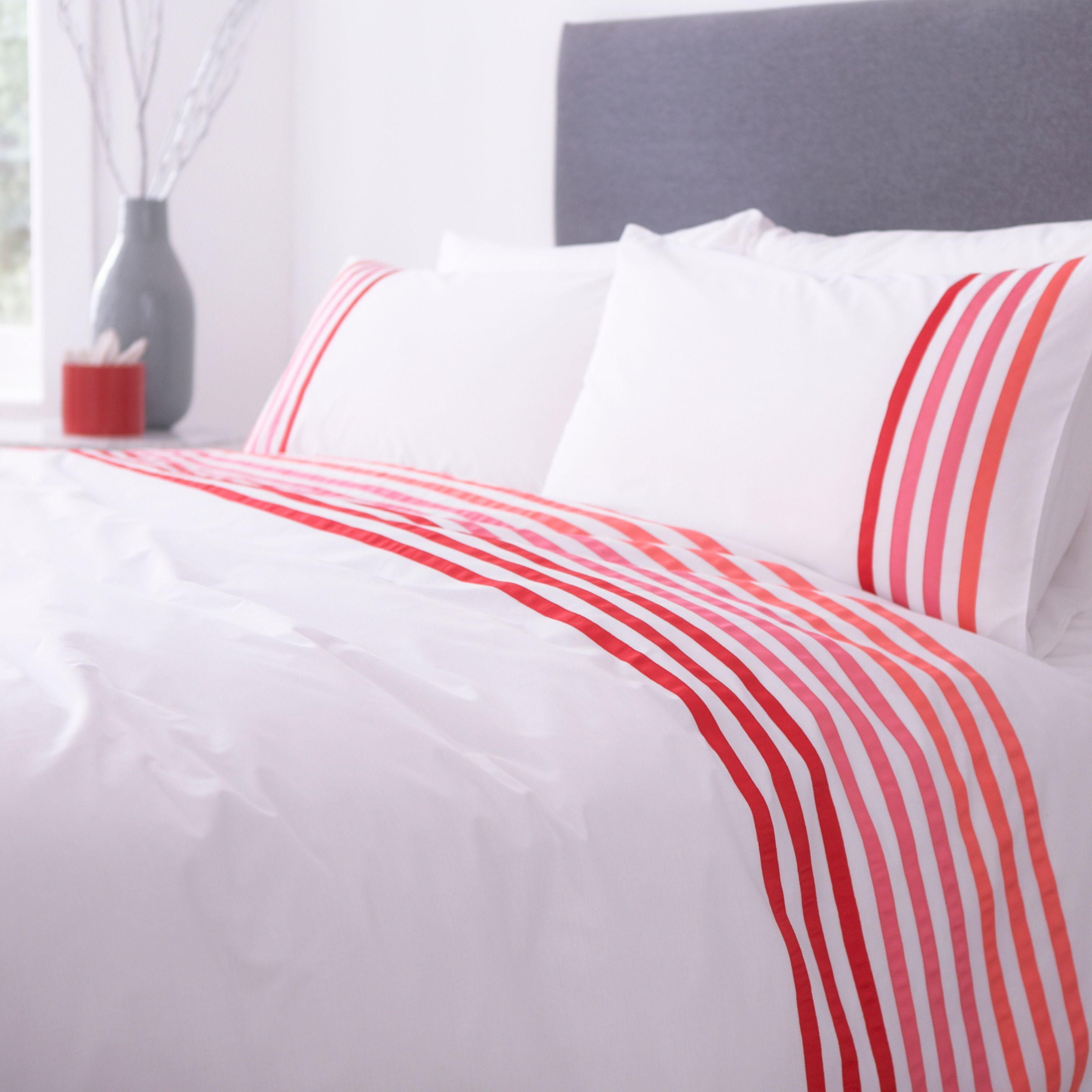 Lourdes stripe pink king duvet set