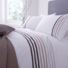 Lourdes stripe grey bedding range