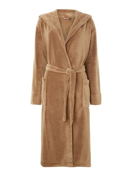 Linea Fleece robe with hood in mocha m/l