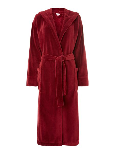 Linea Fleece robe with hood in red s/m