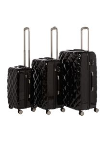 Diamond quilt black 8 wheel hard cabin suitcase