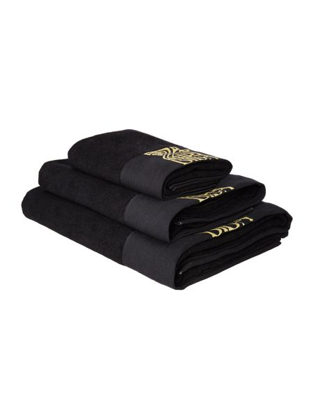 Biba Embroidered Bath Towel in Black