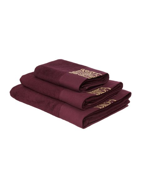Biba Gold logo hand towel in plum and gold