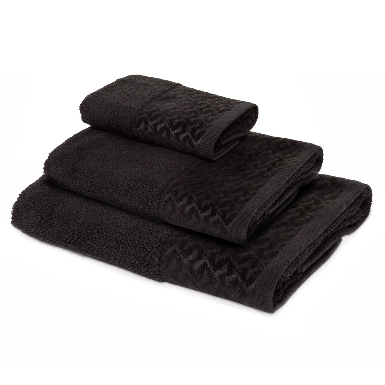 Seagull/Cheneille Border Towel in Black