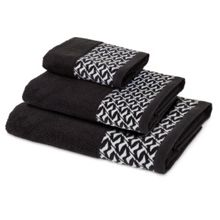 Contrast Seagull Cheneille Towel - Black