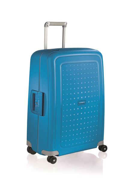 Samsonite S`Cure pacific blue 8 wheel 55cm cabin suitcase