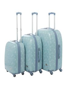 Travel print blue 4 wheel hard cabin suitcase