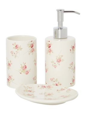 Shabby Chic Scattered Rose basin accessories