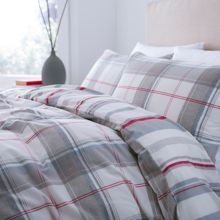 Beige and red flannel duvet set double