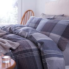Blue and grey flannel duvet set super king
