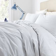 Linea blue ticking stripe bedding range