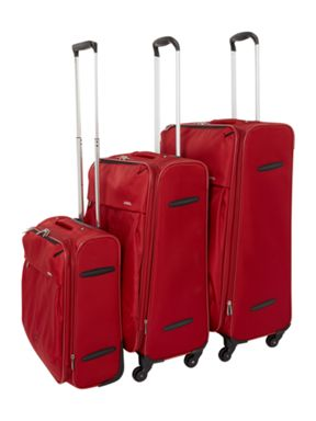 Delsey Axial Red Soft Suitcase Set