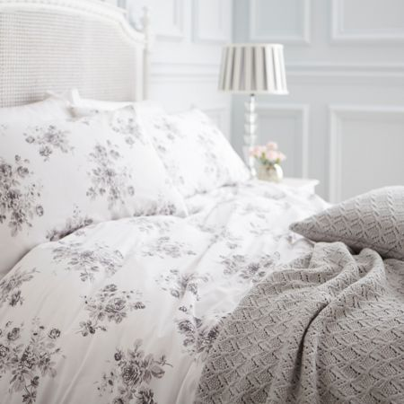 Shabby Chic Grey rose single duvet set