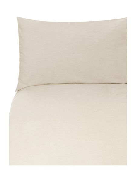 Linea Chambray percale duvet cover set single stone
