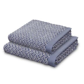 Move Herringbone towel range in blue