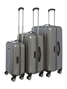 Movelite Silver 4 wheel hard luggage set