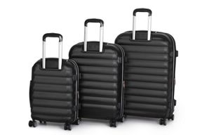 Linea Panel Black 4 wheel hard luggage set