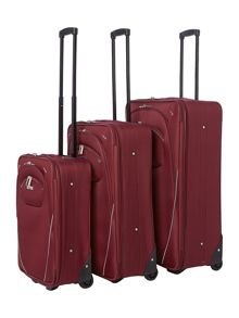 Linea Brixham Burgundy 2 wheel luggage set